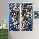 Naruto - Juego de dos cortinas para oscurecer la habitación, diseño de anime con ojales, 63 x 63 pulgadas