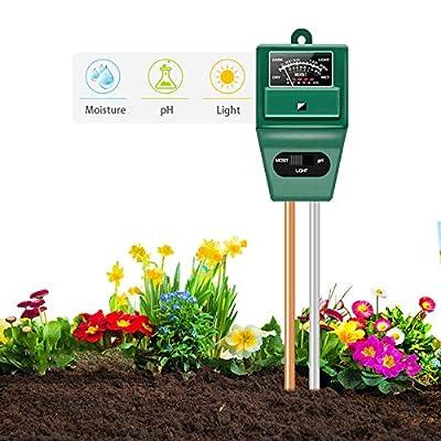 Axwcon Soil pH Meter, 3-in-1 Soil Test Kit Mois...