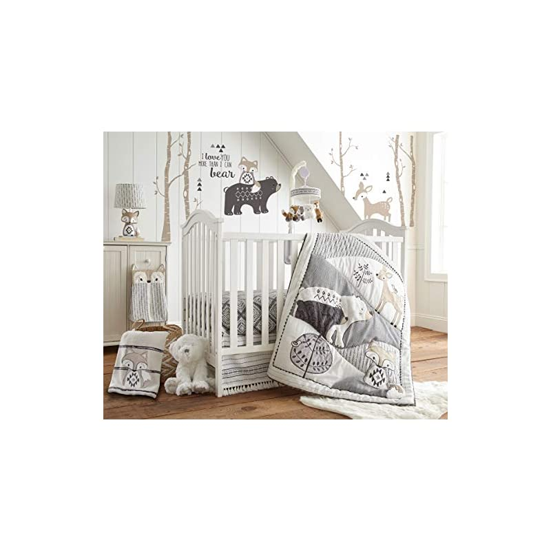 crib bedding and baby bedding levtex baby - bailey crib bed set - baby nursery set - charcoal, taupe, white - neutral forest theme - 5 piece set includes quilt, fitted sheet, diaper stacker, wall decal & skirt/dust ruffle