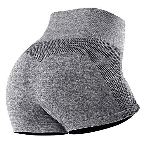 Tuopuda Pantalones Deportivos Cortos de Correr para Mujer Mallas Elásticas Leggings Sin Costuras de Alta Cintura para Fitness Yoga Correr Secado Rápido (Gris,S)
