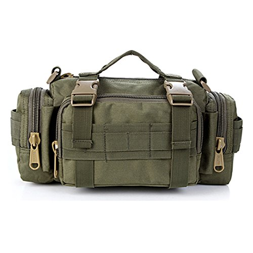 Yihya Nylon Militaire multi-fonctionnelle Tactique Assault Messenger Bag Sac à Dos Sac de Ceintur pour les Sports de Plein Air Aventure Escalade & Riding Bag Pouch Sac de Voyage --- Waist Pack-armée Vert