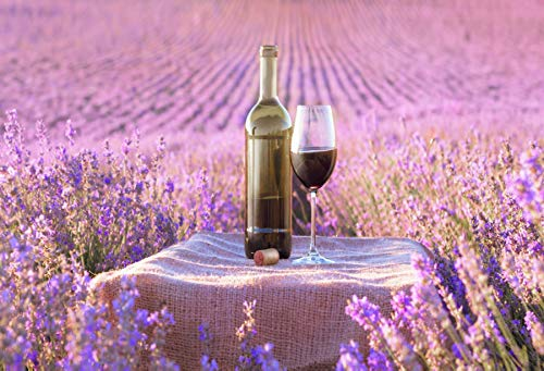 Leyiyi 10x8ft Photography Background Lavender Field Backdrop France Travel Nature Field Red Wine Glass Drink Cake Table Wedding Ceremony Kids Birthday Photo Portrait Vinyl Studio Video Shooting Prop