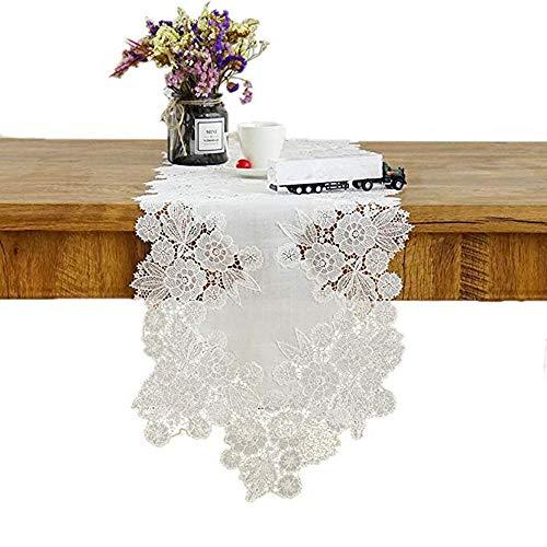 HXOUDAN Blanco rectángulo Crochet Ganchillo algodón Flores Encaje Camino...
