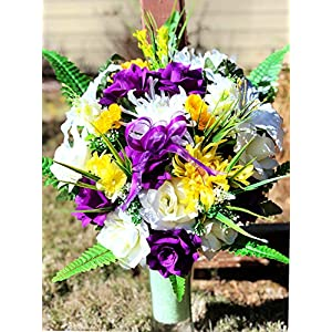 Starbouquets Cemetery vase Flowers – Beautiful Mum Purple Open Rose, Rose, Gladiolus and Lily Mixture Cemetery Vase Flowers ~ for a 3 Inch Vase