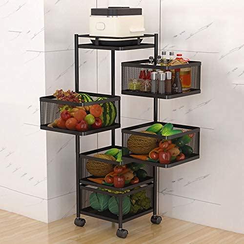 Scaffale girevole da cucina per verdure, da pavimento, multistrato, per cucina, soggiorno, WC, colore: 5 F