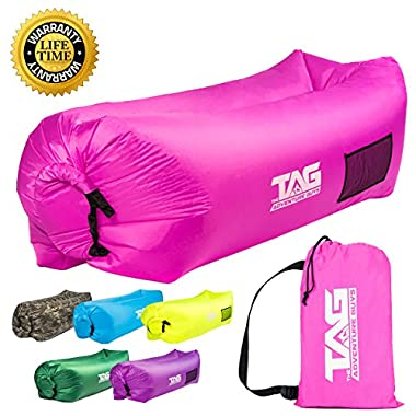 TAG Inflatable Lounger - Seconds to Inflate, Puncture Resistant with Securing Stake, 3 Pockets & Pillow Headrest - Air Lounger Pouch Couch is Perfect for Camping, Beach, Park or Pool