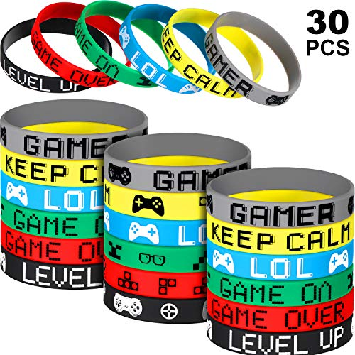 30 Pieces Video Game Bracelets Rubber Bracelets Game Party Wristbands Supplies Colored Silicone Bracelets for Gamer Birthday Party Favors (30 Pieces, 6 Style)