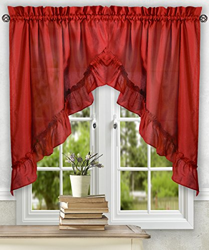 Simple Comfort Ellis Curtain Stacey 60-by-38 Inch Ruffled Swag Curtain (Red)
