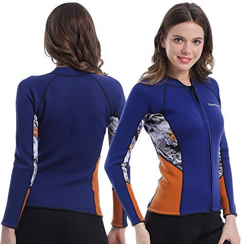 Womens Wetsuit Top, 2mm Zip Wetsuit Jacket Long Sleeve for Canoeing Sea Kayaking Snorkeling Diving Water Aerobics (Womens Wetsuit Top, XL)