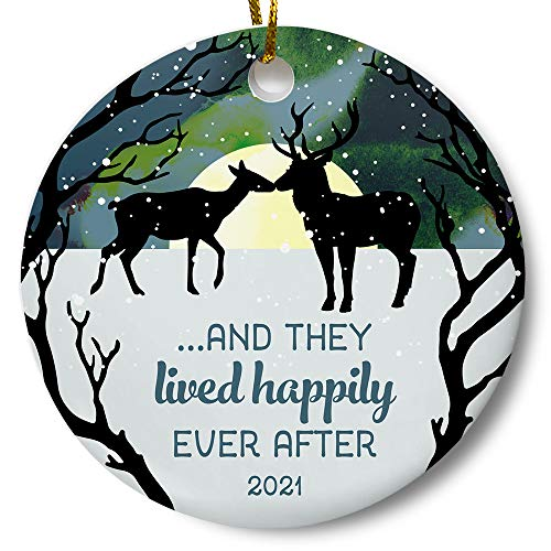 Newlywed Couples First Christmas Together 2021 Wedding Ornament, Bridal Shower Present, Winter Woodland Deer 3 Inch Flat Ceramic Ornament with Gift Box