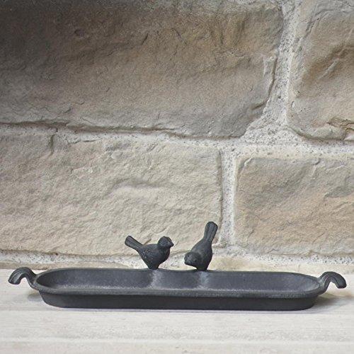 chemin_de_campagne Bain d'oiseaux Abreuvoir Mangeoire Fonte Gris 55 cm