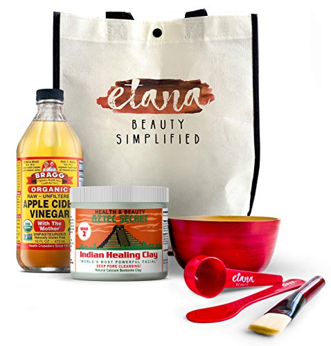 Aztec Clay Premium Mask Set by Etana Beauty – All-In-One Kit Includes 1lb Aztec Secret Indian Healing Clay, 16oz Bragg's Apple Cider Vinegar, Natural Bamboo Bowl, Stir, Scoop, Brush & Tote