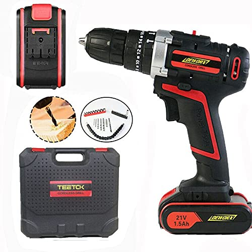 Hammer Drill Set 21V Cordless Combi Hammer Impact Drill Driver,30 Piece Bit Accessories LED Work Light with 1500mAh Batteries