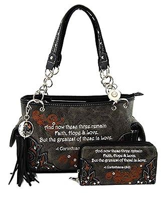 Cowgirl Trendy Western Bible Verse Purse Wallet Set, Corinthians 13:13 (Black)