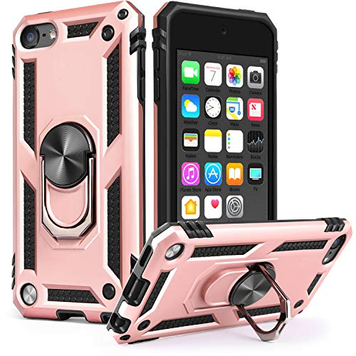 iPod Touch 7 Case iPod Touch 6 Case with Car MountIDweel Hybrid Rugged Shockproof Protective Cover with Builtin Kickstand for Apple iPod Touch 5 6 7th Generation Rose Gold