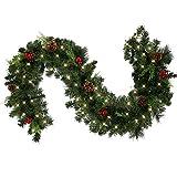1.8M Tannengirlande Künstlich LED Grüne Weihnachtsgirlande Deko 30LED Weihnachtsgirlande mit Beleuchtung Hängende Girlande Deko für Kamin Treppentür Weihnachten Kamine Treppen Türen Baum Garten Dekor