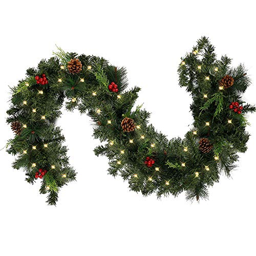 BullStar 6feet Christmas Decorations Christmas Garland with Lights Artificial Wreath with Red Berries and Pinecones Xmas Decorations for Stairs Wall Door (6FT, with Lights)