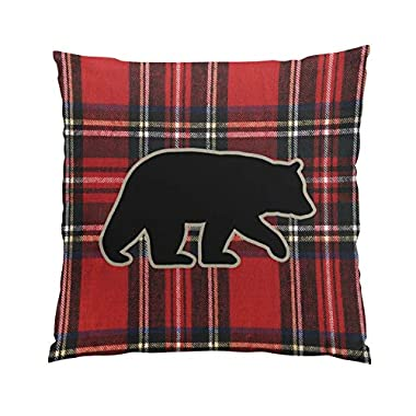 Sokiiy Black Bear Silhouette on Red Plaid Fancy Hidden Zipper Home Sofa Decorative Throw Pillow Cover Cushion Case Square 16x16 Inch Two Sides Design Printed Pillowcase