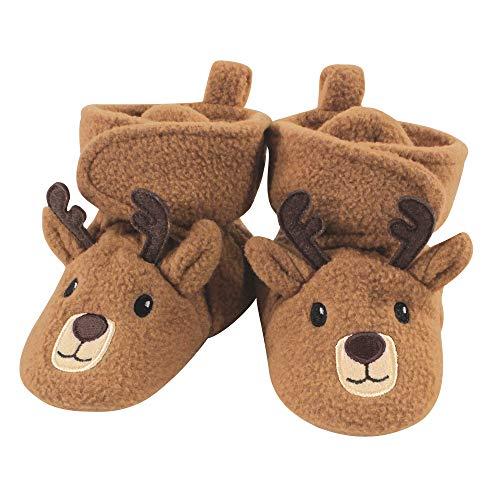 Hudson Baby Unisex Cozy Fleece Booties, Reindeer, 0-6 Months