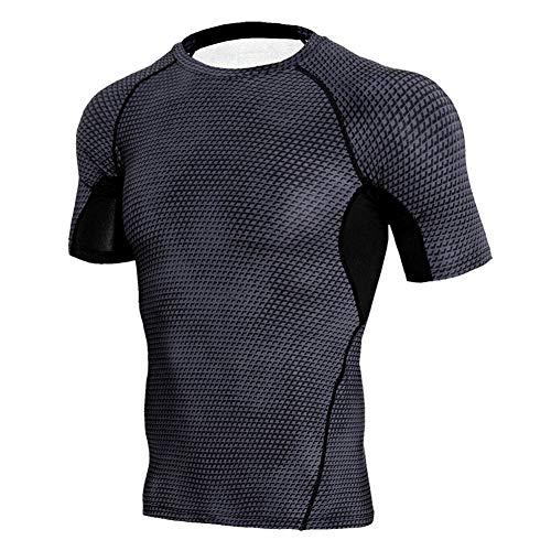Alimagic Kurzärmeliges kompressionsshirt herren, Herren Kompressionsshirt Funktionsshirt Kurzärmeliges Sportshirt Laufshirt Männer (Kurzärmeliges-Schlangenmuster - Schwarz-XXXL)