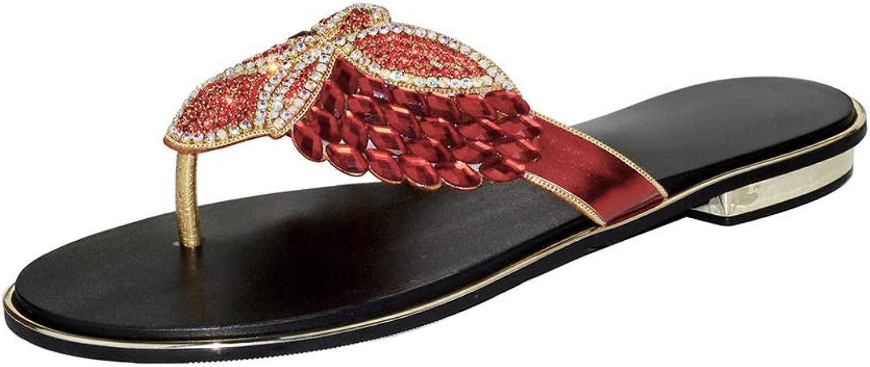 WHL.LL Ms Crystal with Rhinestone Flat Sandals Summer Beach Flip Flop Sandwich Toe Flip Flops Sandals