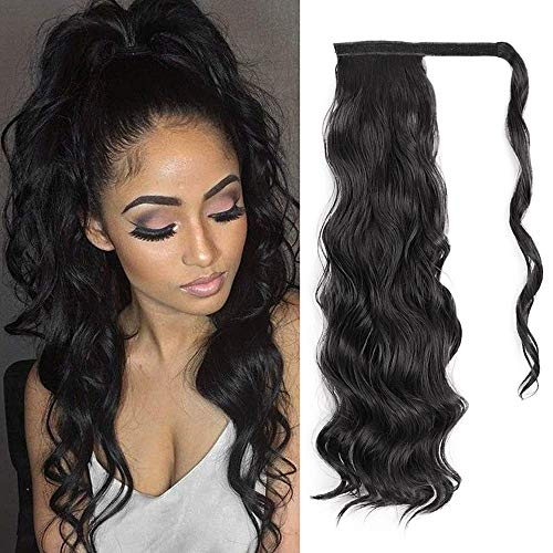 ORSUNCER Ponytail Extension Drawstring Wavy Ponytail Extension for Black Women Wavy Wrap Ponytail Extension Curly