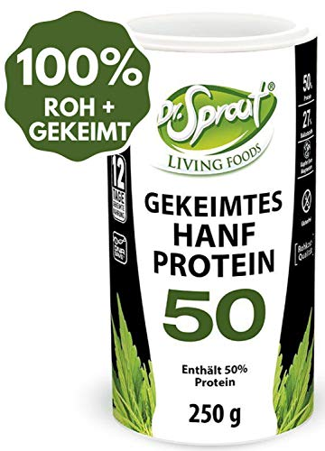 100% ROH + gekeimtes HANFPROTEIN Pulver BIO 250g • ROHKOST-QUALITÄT max. 40° • pflanzliche Eiweißquelle mit 50% Protein • Hanfprotein Shake VEGAN • KEIMEN vervielfacht Nährstoffe um das 10-15-fache