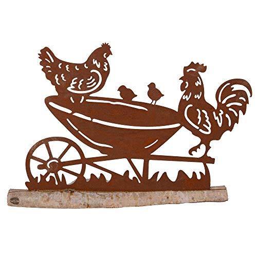 UNUS Gartendeko Gartenstecker Hühner mit Karre aus Edelrost Metall für Garten Terrasse oder Balkon