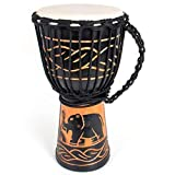 African Drum, Hand-Carved Bongo Congo Djembe Drum 8 inches Mahogany Goatskin Drumhead for Children Starter Beginners(Black)