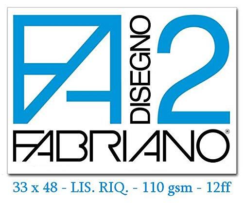 Fabriano F2 06201534, Album da Disegno, Formato 33 x 48 cm, Fogli Lisci Riquadrati, Grammatura 110gr/m2, 12 Fogli, 10 pezzi