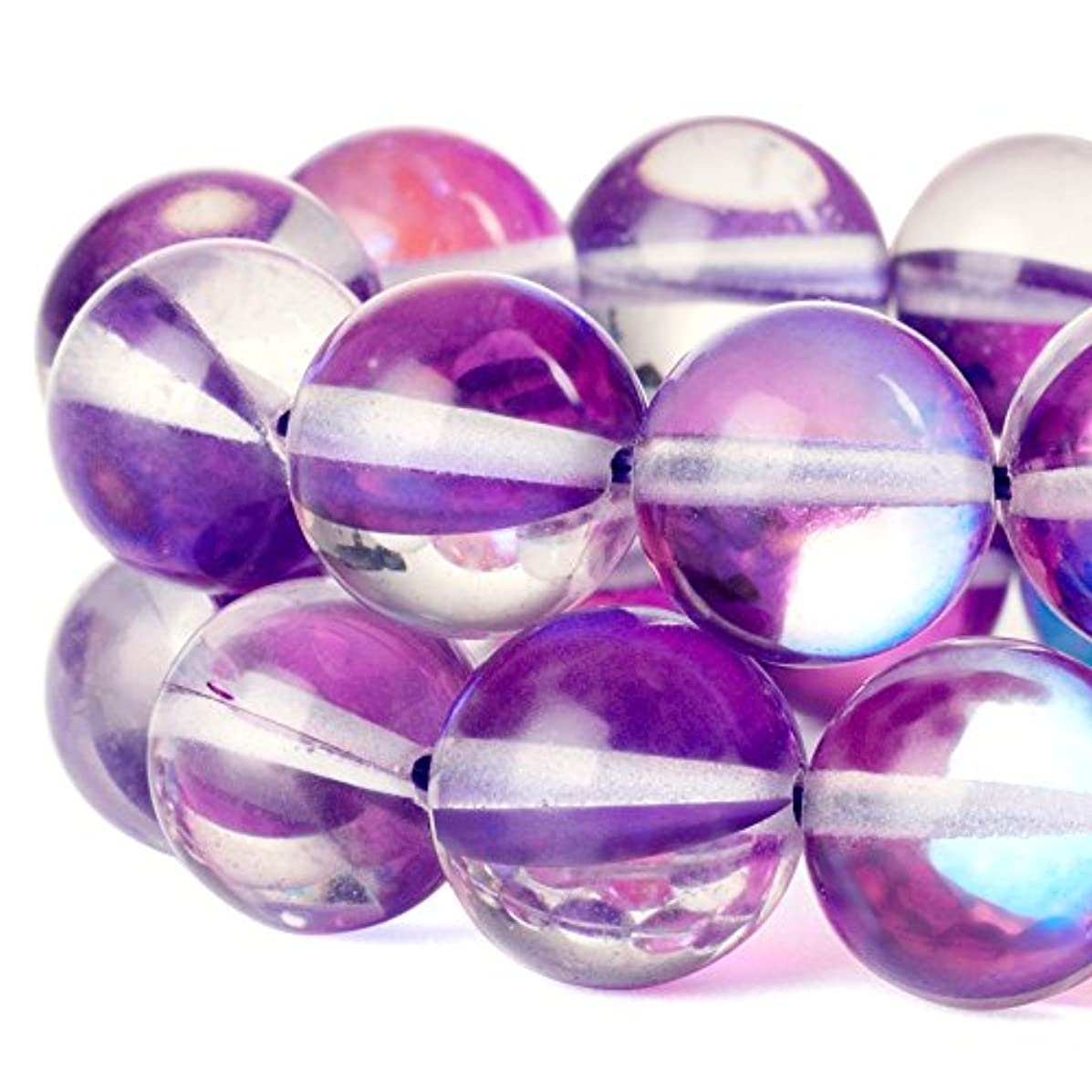 RUBYCA?Round?Moonstone?Crystal?Glass?Beads?Aura?Iridescent?for Jewelry Making?(1?strand,?12mm,?Purple)