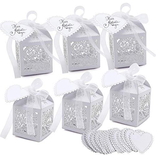 VGOODALL 100 unidades de regalos para invitados de boda, caramelos, cajita de regalo para boda, bautizo, caja de cartón para decoración de mesa (blanco)