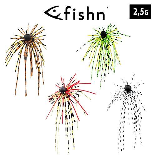 FISHN® Dirty Hairy Jig - Silikonfransen, fängige Fransen – Weedguard, Rubber Jigs, Tungsten, Gummiköder - scharfer Haken, Gewicht: 2,5g/5g – Hecht, Barsch und Zander (Set 2,5g (4 Stück))