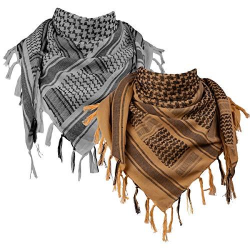 FREE SOLDIER Halstuch/Kopftuch Shemagh,100% Baumwolle Palituch Taktischer Schal Arabischer Wüsten Schals Unisex dreieckstuch,110 * 110cm,Grau & Braun Set