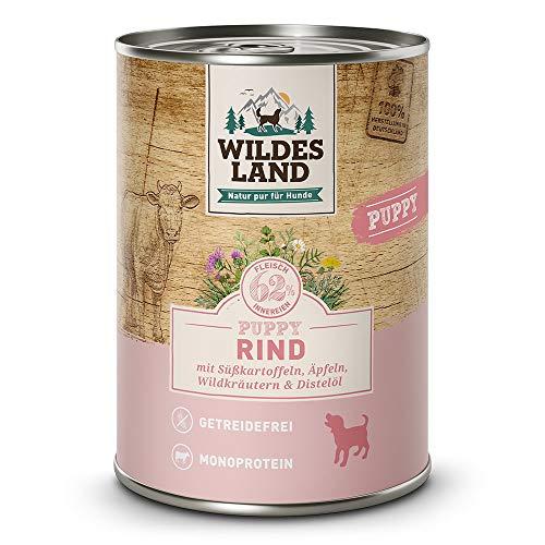 Wildes Land | Nassfutter für Hunde | Puppy Rind | 12 x 400 g | mit Süßkartoffeln, Äpfeln, Wildkräutern & Distelöl | Glutenfrei | Extra viel Fleisch | Beste Akzeptanz und Verträglichkeit