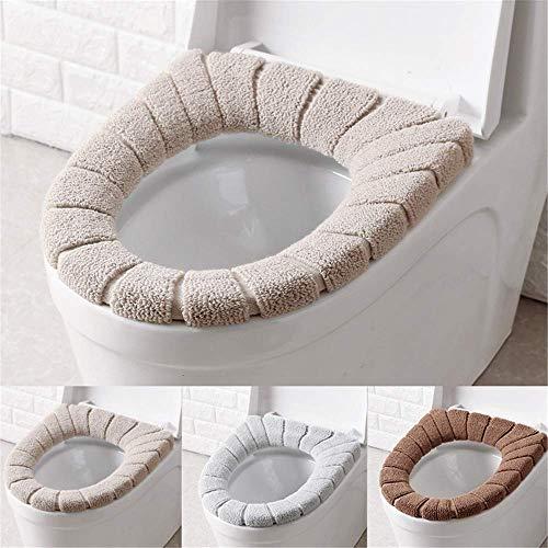 Qplcdg 3 Pezzi Coprisedile per WC,Spessa e Morbida Copriwater in Tessuto -Anello di Fissaggio, Universale, Lavabile in Lavatrice