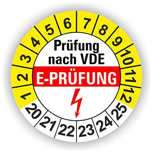 5-1.000 Stück Prüfplaketten Prüfetiketten Wartungsetiketten E- Prüfung Ø 30mm (Gelb 60 Stück)