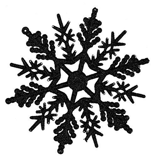 DemiawakingI Fiocchi di Neve Albero di Natale Fiocchi di Neve Glitterati Ornamenti Natalizi Addobbi Natalizi per Albero di Natale Pendenti Decorazioni Natalizie (24 Pezzi, Nero)