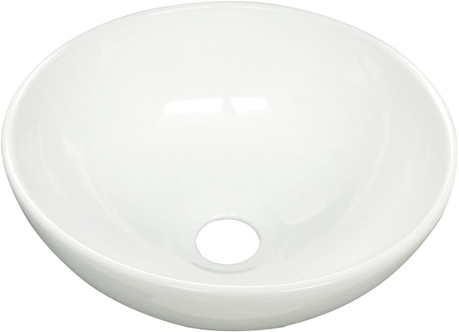 White Ceramic Mini Small Round Above Counter Vessel Bathroom Sink Space Saving Scratch And Stain Resistant Design