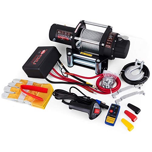 VEVOR Verricello Elettrico Dell'argano 12V per il Sollevamento per il Camper Dell'automobile (6000LBS)