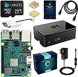 Raspberry pi 3b + con 32GB Micro SD Clase 10, 5V 3A Tipo C con Interruptor, Cable HDMI, 2 Disipador de Calor, Lector de Tarjetas, Caja Negra