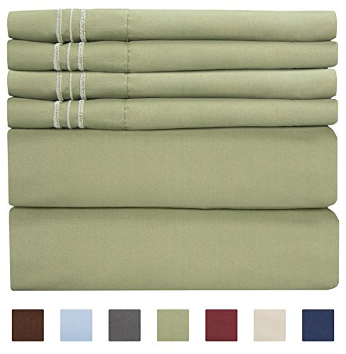 Full Size Sheet Set - 6 Piece Set - Hotel Luxury Bed Sheets - Extra Soft - Deep Pockets - Easy Fit - Breathable & Cooling Sheets - Wrinkle Free - Green - Sage Green Bed Sheets - Fulls Sheets - 6 PC