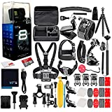 GoPro HERO8 Black Digital Action Camera - Waterproof, Touch Screen, 4K UHD Video, 12MP Photos, Live Streaming, Stabilization - 16GB Card - with 50 Piece Accessory Kit - All You Need Bundle