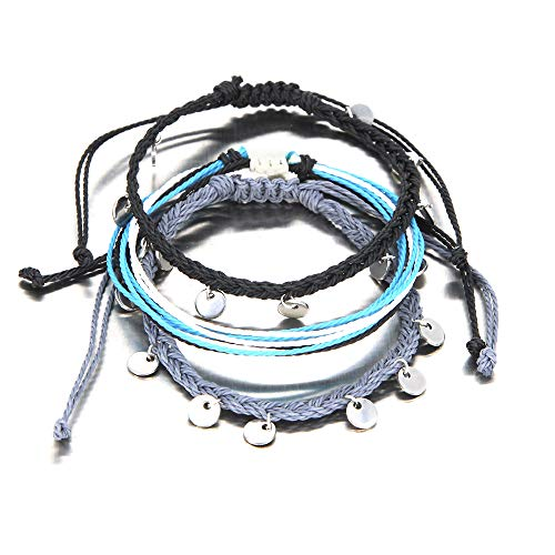 FANCY SHINY String Ankle Bracelets Waterproof Rope Anklets Braided Beach Boho Coin Anklets Cute Friendship Foot Jewelry for Women Teen Girls(Black&Gray)