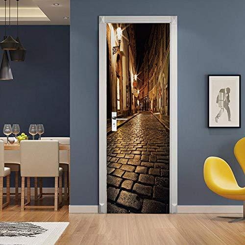 APAJSG Pegatinas Puertas Interiores 3D Vinilo Autoadhesivo Adhesivos para puertas Dormitorio decoración del hogar Cartel 95x215 cm Calle de noche