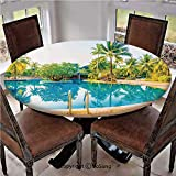 """Elastic Edged Polyester Fitted Table Cover,Umbrella and Chair Around the Round Outdoor Pool Tourist Space Famous Spots Concept,Fits up 45""""-56"""" Diameter Tables,The Ultimate Protection for Your Table,Gr"""