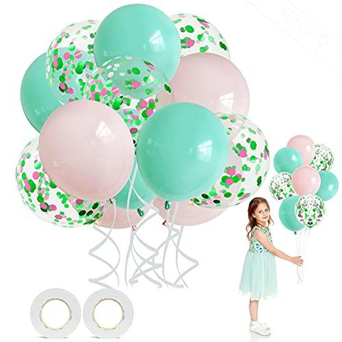 Macaron Balloons, 60 piezas Globos Pastel Globos Látex Globos Confeti Decoración Globo para boda, cumpleaños, baby shower, graduación, decoraciones de fiesta de ceremonia (rosa verdoso)
