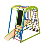 Dani LLC Indoor Wooden Playground for Kids SportWood Indoor Gym Sets Up Climbing Ladder Swing Slide and Rings (SportWood Plus)