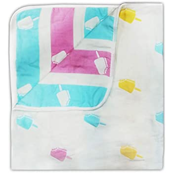 LuvLap 100% Muslin Cotton 6 Layered Reversible Baby Quilt Cum Wrapper Blanket - White Ice Cream