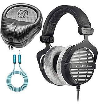 Beyerdynamic DT 990 PRO 250 Ohm Open Back Headphones Bundle with Blucoil 6-FT Headphone Extension Cable  3.5mm  and Slappa Full-Sized HardBody PRO Headphone Case